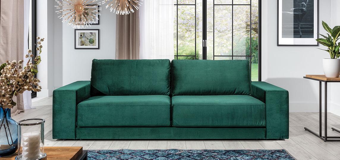 zielona sofa z funkcją spania
