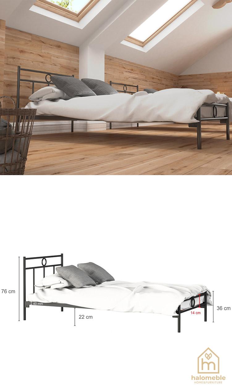 białe łóżko metalowe pojedyncze