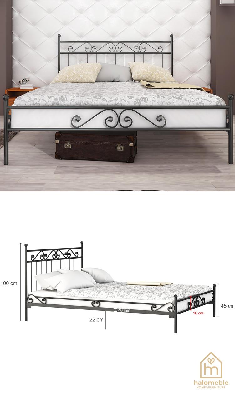 białe łóżko metalowe podwojne
