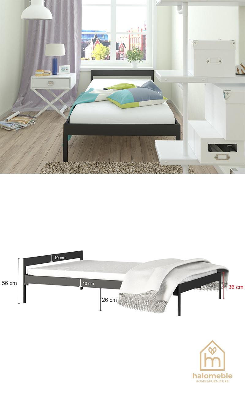 nowoczesne łóżko z metalu