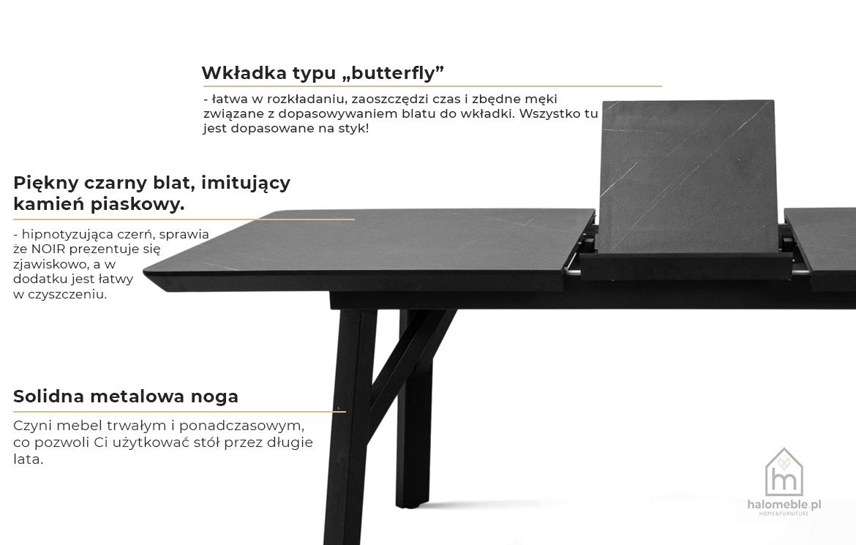 czarny stół rozkładany