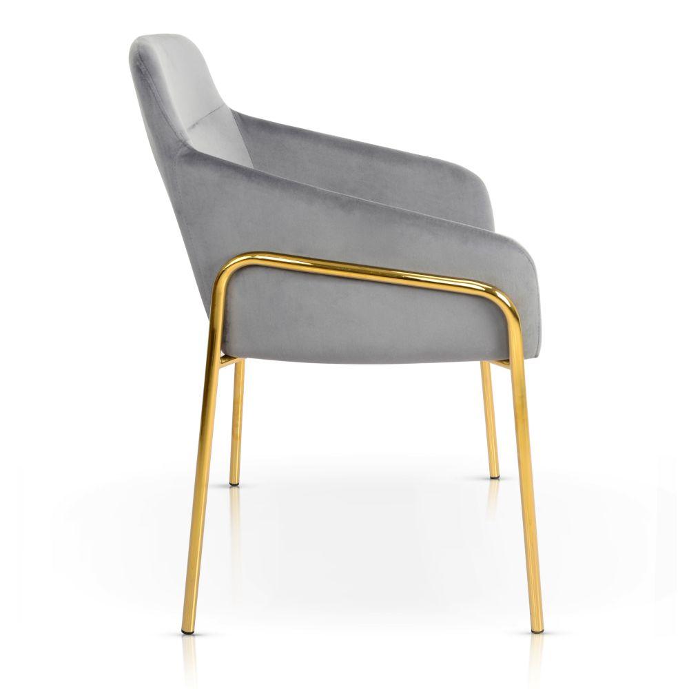 szare krzesło tapicerowane złote