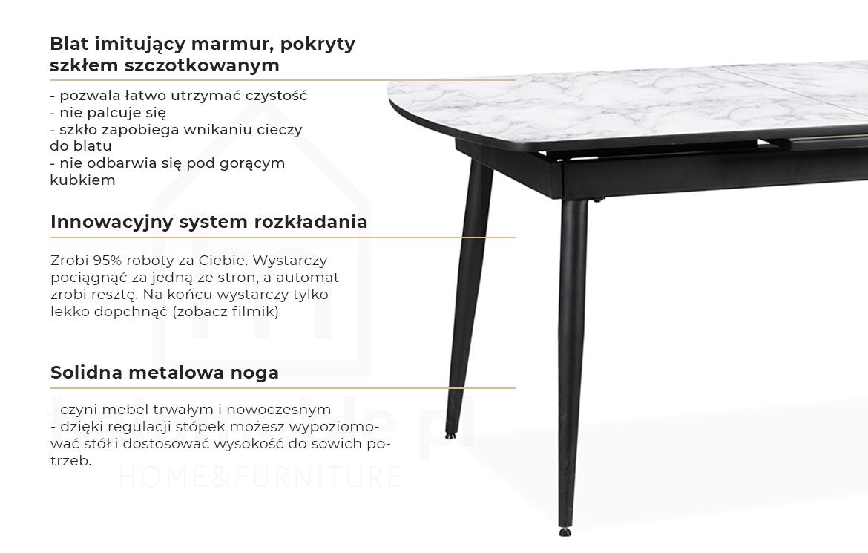 rozkładany stół z marmurowym blatem