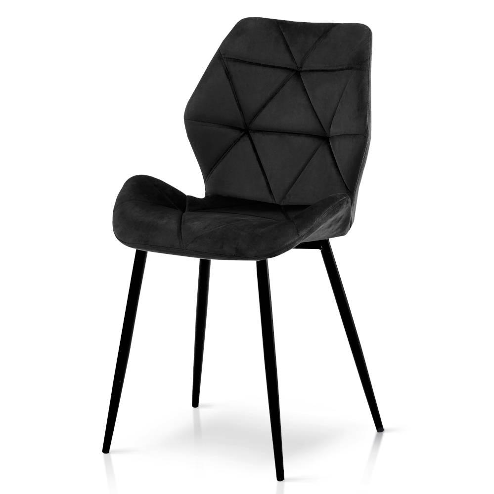 karo krzesło welurowe czarne